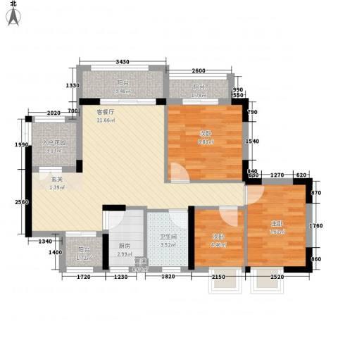 绿海名居3室1厅1卫1厨87.00㎡户型图