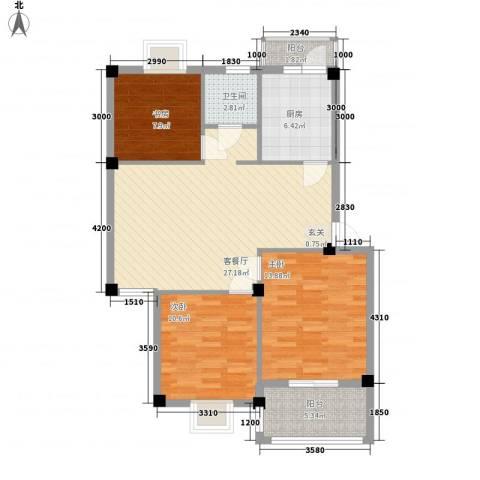 盛世嘉苑3室1厅1卫1厨107.00㎡户型图