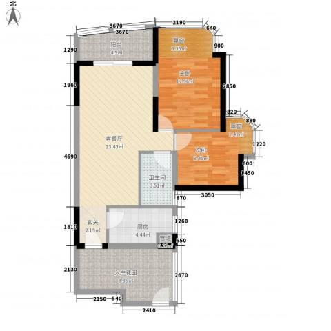 绿海名居2室1厅1卫1厨76.00㎡户型图