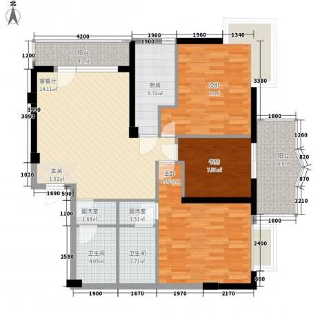 菁华领第3室1厅2卫1厨117.00㎡户型图