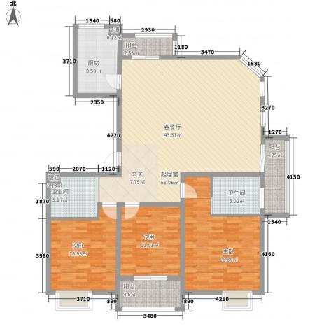 文昌雅苑3室0厅2卫1厨141.02㎡户型图