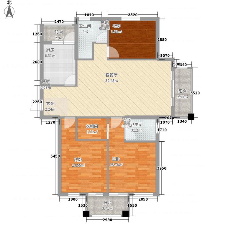 现代华亭花园123.00㎡现代华亭花园3室户型3室
