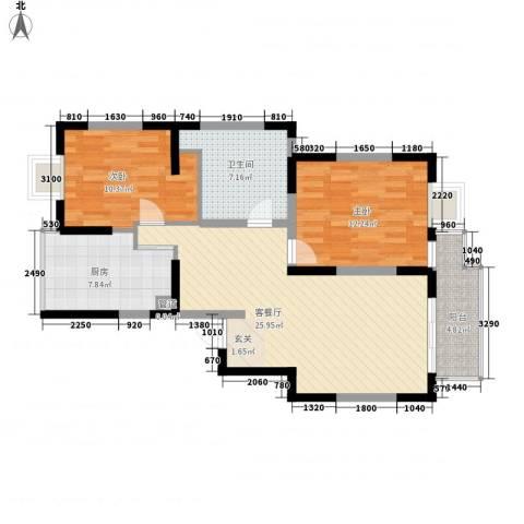 新园东区2室1厅1卫1厨98.00㎡户型图