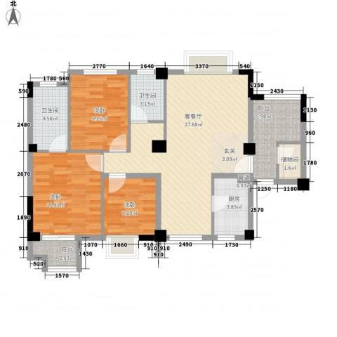 七里香苑云龙阁3室1厅2卫1厨113.00㎡户型图
