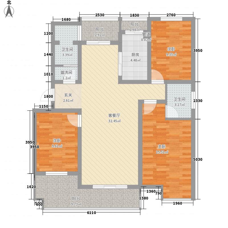 银桥金居135.00㎡E户型3室2厅2卫1厨