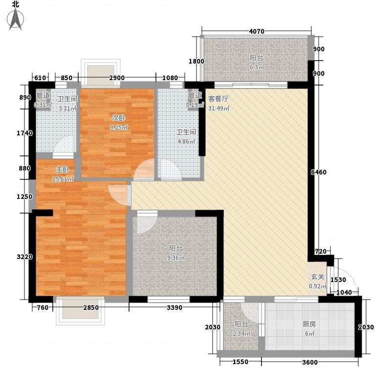 碧桂园城市花园116.12㎡J123型04户型2室2厅2卫1厨