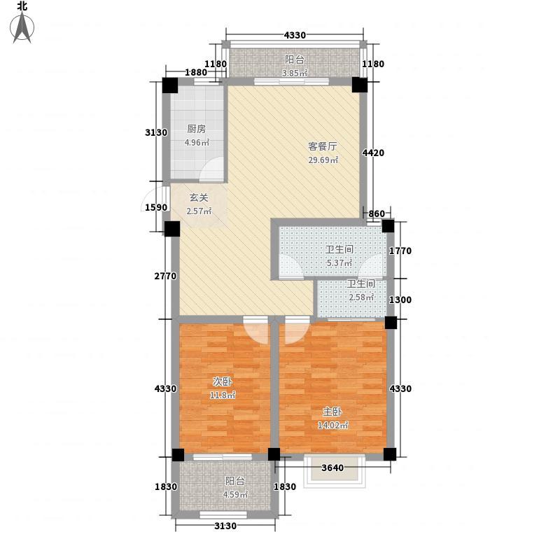 爱伦堡110.00㎡爱伦堡户型图小高层H户型2室2厅2卫1厨户型2室2厅2卫1厨