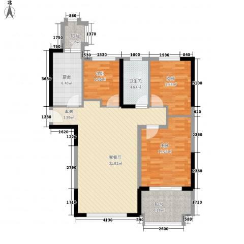 碧桂园凤凰城3室1厅1卫1厨112.00㎡户型图