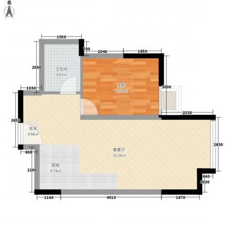 华业大厦1室1厅1卫0厨65.00㎡户型图