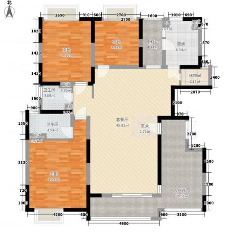 三阳购物中心3室1厅2卫1厨131.67㎡户型图
