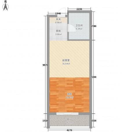 印象生活广场1卫0厨58.00㎡户型图