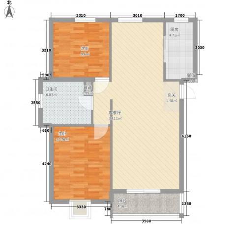 将军花园名仕园2室1厅1卫1厨100.00㎡户型图