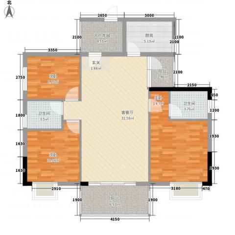 花香十二院3室1厅2卫1厨128.00㎡户型图