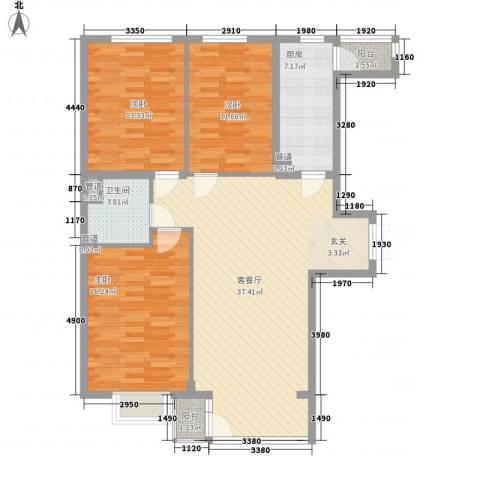 嘉铭桐城3室1厅1卫1厨130.00㎡户型图