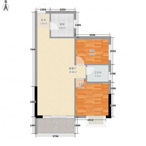 花香十二院2室1厅1卫1厨84.00㎡户型图