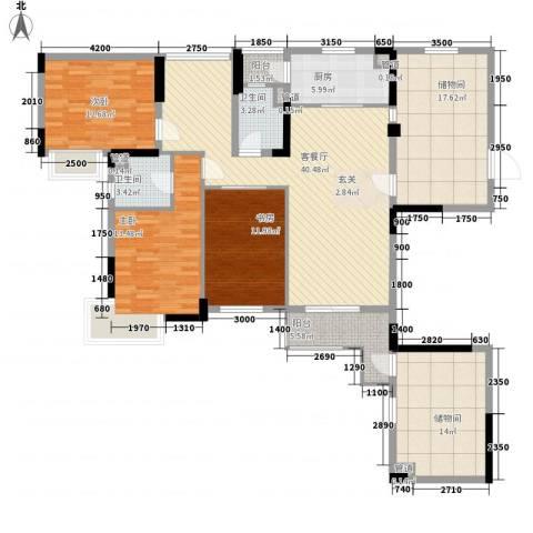 富恒浅水湾3室1厅2卫1厨170.00㎡户型图