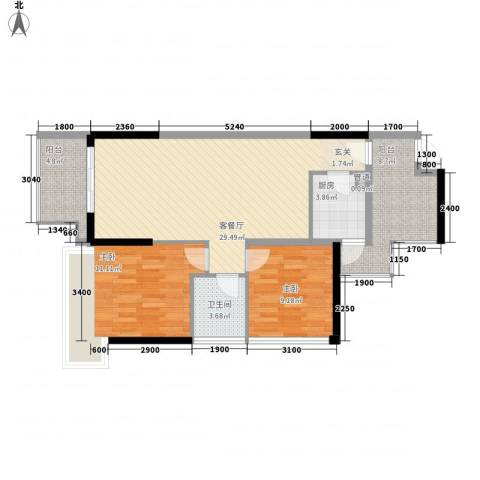 丰泰观山碧水・凌峰2室1厅1卫1厨101.00㎡户型图