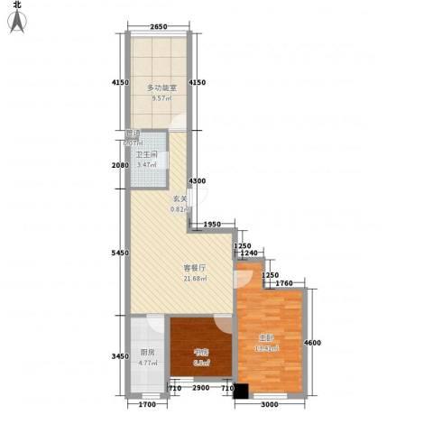红星国际广场2室1厅1卫1厨87.00㎡户型图
