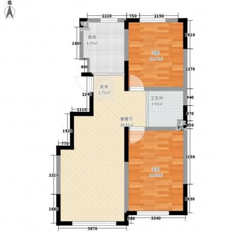宇都和源2室1厅1卫1厨63.00㎡户型图