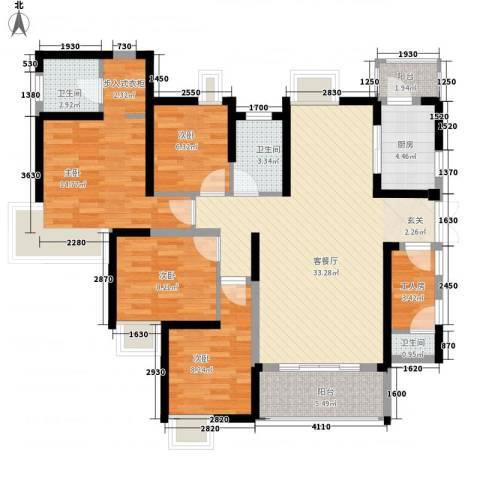 南昌华南城4室1厅3卫1厨141.00㎡户型图