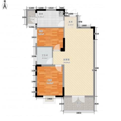 中御公馆2室0厅1卫1厨93.00㎡户型图