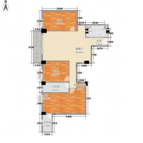 美景苑3室1厅2卫1厨122.57㎡户型图