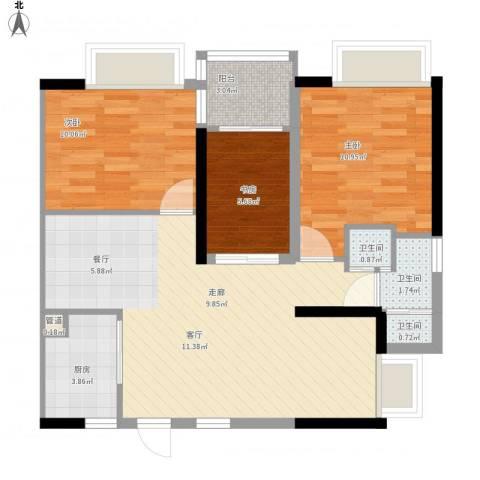 兰亭熙园3室1厅3卫1厨92.00㎡户型图