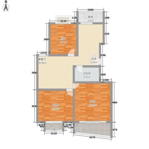 欣园小区3室1厅1卫1厨115.00㎡户型图