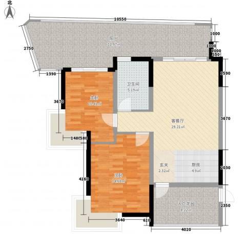 中信香水湾2室1厅1卫0厨96.00㎡户型图