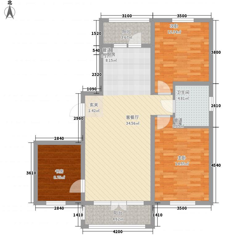 北岸上筑户型图E户型 3室2厅1卫1厨