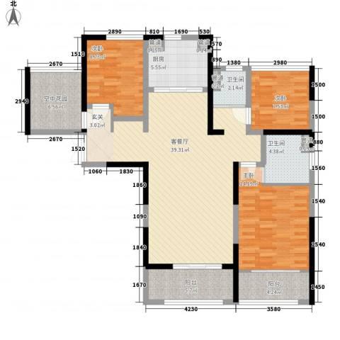 星雨华府3室1厅2卫1厨99.12㎡户型图