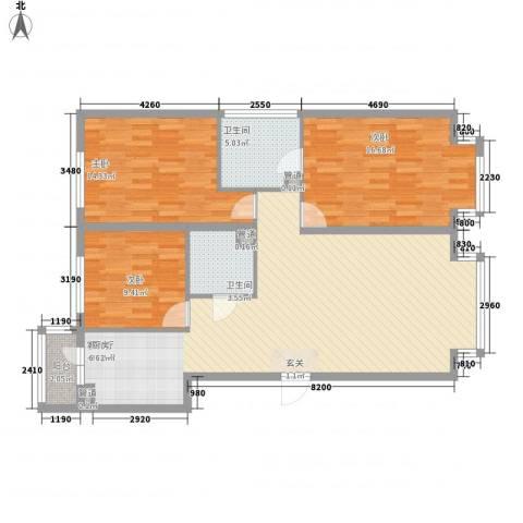 万象城3室1厅2卫0厨137.00㎡户型图