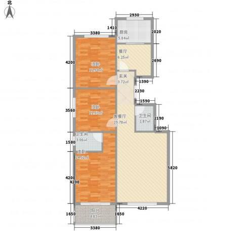 馨园丽景3室2厅2卫1厨117.00㎡户型图
