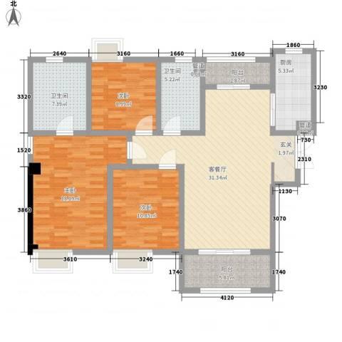 吴中豪景华庭3室1厅2卫1厨140.00㎡户型图
