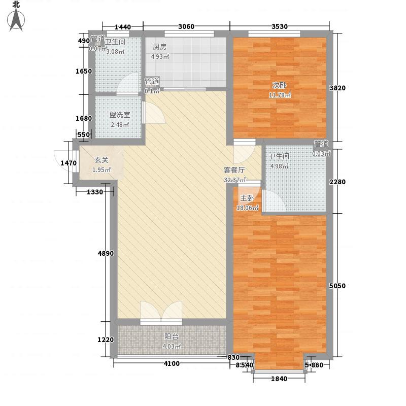 井亭家园户型2室1厅1卫1厨