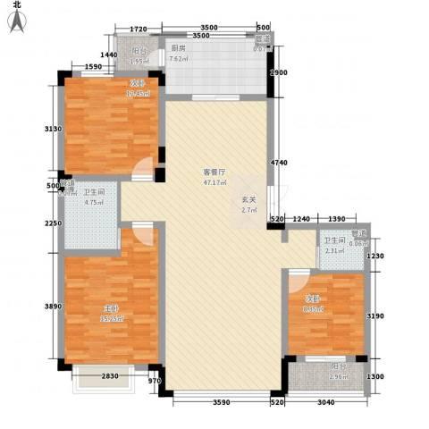 怡众名城3室1厅2卫1厨135.00㎡户型图