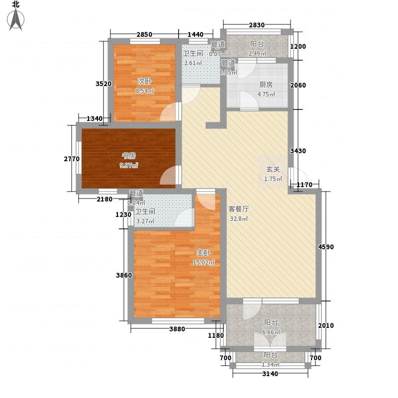 阳光诺卡128.00㎡阳光诺卡户型图洋房户型图3室2厅2卫1厨户型3室2厅2卫1厨