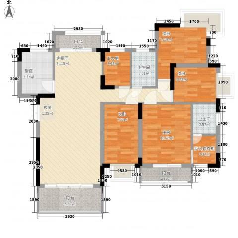 能源华庄4室1厅2卫1厨128.00㎡户型图