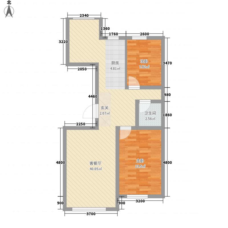 幸福大道标准层F户型2室2厅1卫1厨