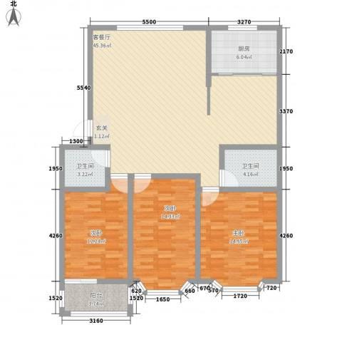 山海顺沁苑3室1厅2卫1厨147.00㎡户型图