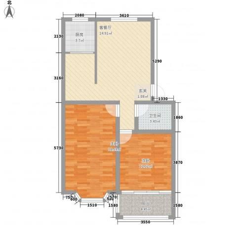 山海顺沁苑2室1厅1卫1厨96.00㎡户型图