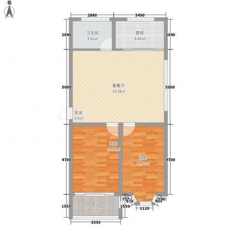 山海顺沁苑2室1厅1卫1厨101.00㎡户型图