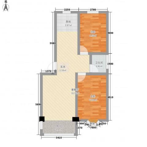 山海顺沁苑2室1厅1卫0厨80.00㎡户型图