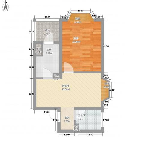 馨港庄园1室1厅1卫1厨57.00㎡户型图