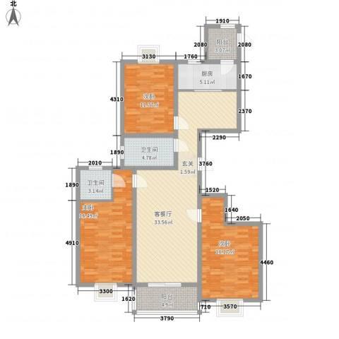 理想城小区3室1厅2卫1厨144.00㎡户型图