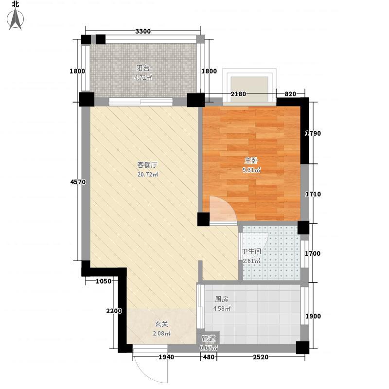 振宁现代鲁班53.23㎡33#A-1户型1室2厅1卫1厨