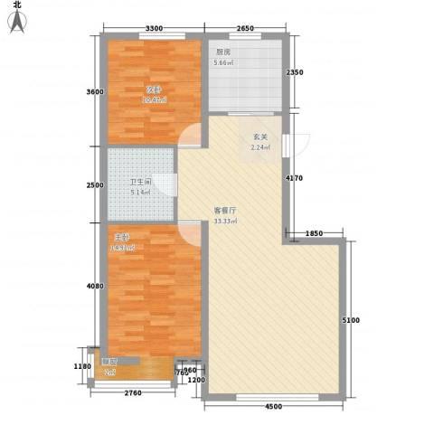 宝地城2室1厅1卫1厨96.00㎡户型图