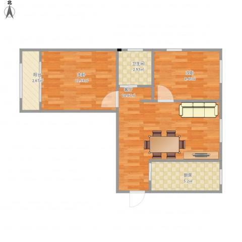 康泽佳苑2室1厅1卫1厨68.00㎡户型图