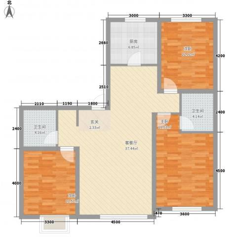 宝地城3室1厅2卫1厨134.00㎡户型图