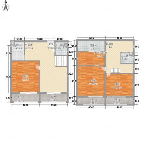 领秀公馆3室1厅3卫1厨122.98㎡户型图